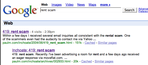 Google for 'rent scam' shows two results, both my site, both essentially same content